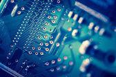 Gros plan de bleu circuit imprimé — Photo