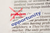 Problem definition word crossed out and replaced with opportunit — Stock Photo