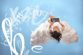 Relaxed girl connecting to cloud computing — Stock Photo