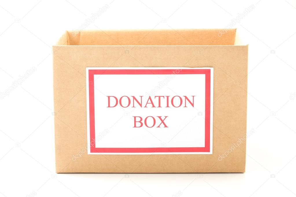 Cardboard donation box on white background — Stock Photo ...