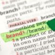 Brand definition highlighted in green — Stock Photo