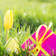 Pink gift box with yellow easter egg and tulip - Stock Photo