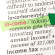 Royalty-Free Stock Photo: Income definition highlighted