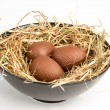 Chocolate easter eggs in straw in bowl — Stock fotografie