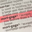 Mortgage definition highlighted in red — Stock Photo