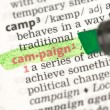 Campaign definition highlighted in green — Foto de stock #24150425
