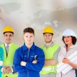 Stock Photo: Different types of workers in a row
