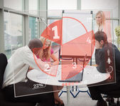 Business using red pie chart interface — Stock Photo