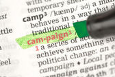 Campaign definition highlighted in green — Stock Photo