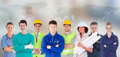 Different types of workers in a row — Stock Photo