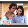 Smarphone screens showing family using laptop — Stock Video #25629013