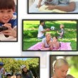 Montage of family clips into frames — Video Stock