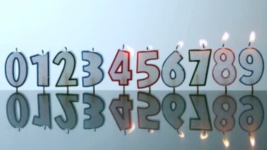 Number candles blowing out in numerical order — Stock Video
