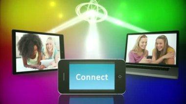 Sociale media en vriendschap montage — Stockvideo