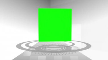 Montage of green screens in a cube — Vídeo de Stock