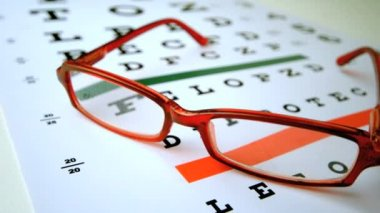 Red reading glasses falling onto eye test — Stock Video
