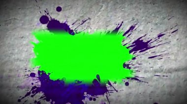 Paint spatter revealing chroma key spaces — Stock Video