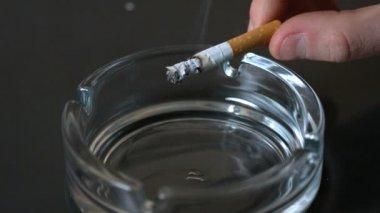 Basculement de cendre de cigarette dans le cendrier de la main — Vidéo
