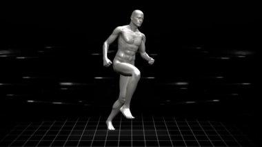 Full body scan of running digital human — Stock Video