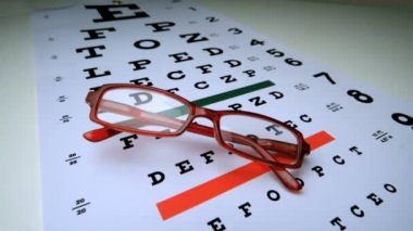 Red reading glasses falling onto an eye test — Stock Video