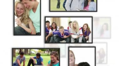 Montage of students clips into frames — Stock Video