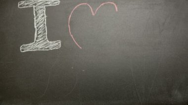I love my dad message appearing drawn on blackboard with chalk — Stock Video