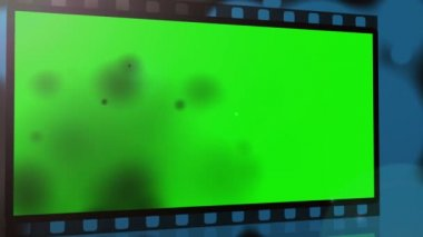 Movie strips with chroma key spaces get burnt — Stock Video