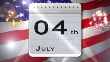 Independence day montage with calendar introduction — Stock Video