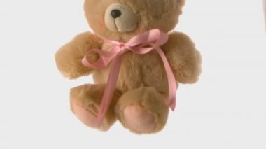 Cute teddy bear falling and bouncing — Stock Video