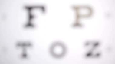 Focus on eye test letters — Stock Video