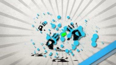 Handprints pełne farby niech się klawisz spacji chroma — Wideo stockowe