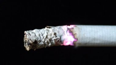 Cigarette burning on black background close up — Stock Video
