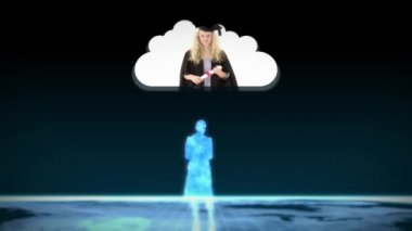 Digital figurines revealing graduate students into clouds — Stok video