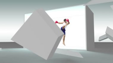 Grey cube exploding to reveal fitness montage — Stock Video
