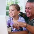Grandfather and girl using laptop  — Vídeo Stock