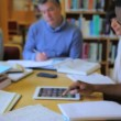 Studying together in library — Stock Video