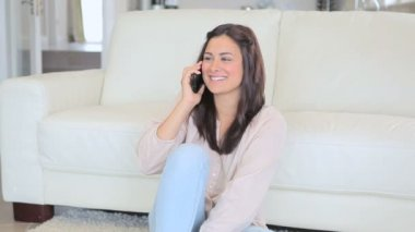 Video of smiling brunette woman phoning — Stock Video