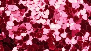 Pink heart shaped confetti — Vídeo Stock