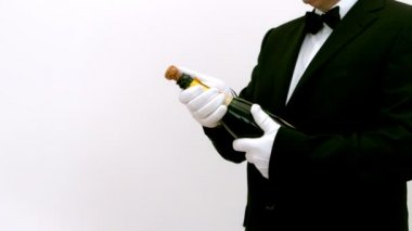 Man opening a bottle of champagne — Stock Video