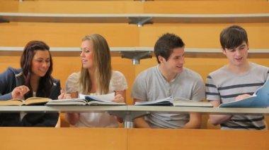 Groupe d'étudiants travaillant dans un amphithéâtre de sourire — Vidéo