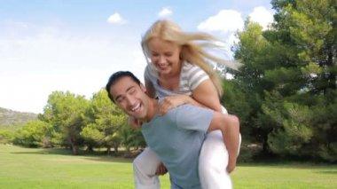 Smiling couple having fun — Stock Video