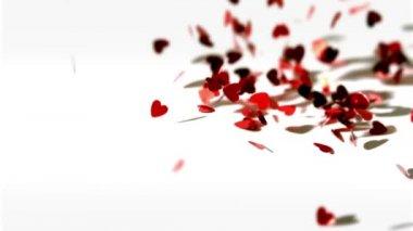Lots of heart confetti falling down — Stock Video