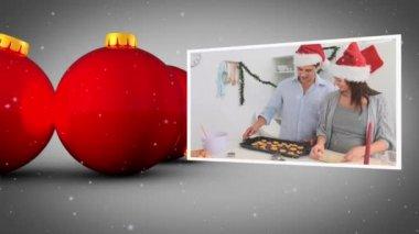 Christmas balls and family's animation — Stock Video