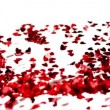 Confetti blown together to spell love — Stockvideo