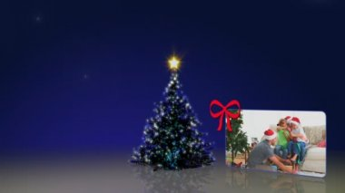 Christmas tree and family's animation — Stock Video