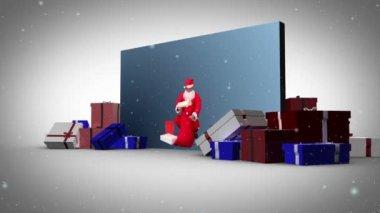 Big screen christmas and family's animation — Stock Video
