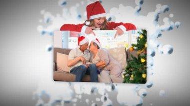 Christmas animaties met paren — Stockvideo
