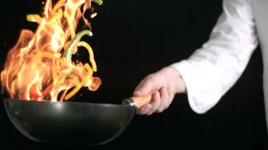 Chef tossing stir firy — Stock Video