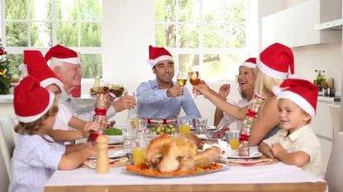 Happy family celebrating christmas — Stock Video