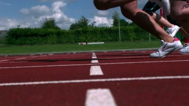 Athletes running a race — Stock Video